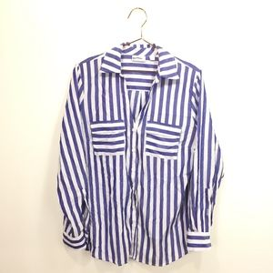 New York & Company L Large Shirt Blue White